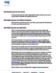 ASG Global Customer Care Guide